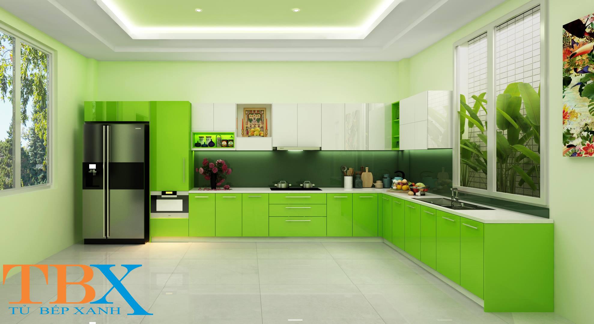 tủ bếp Acrylic chữ L màu xanh lá cây