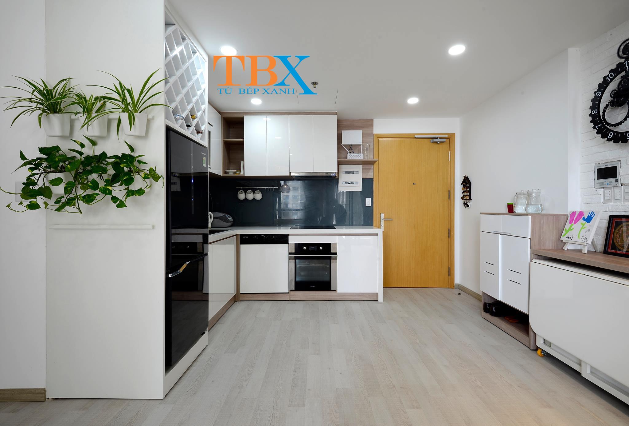 tủ bếp chữ L cho chung cư