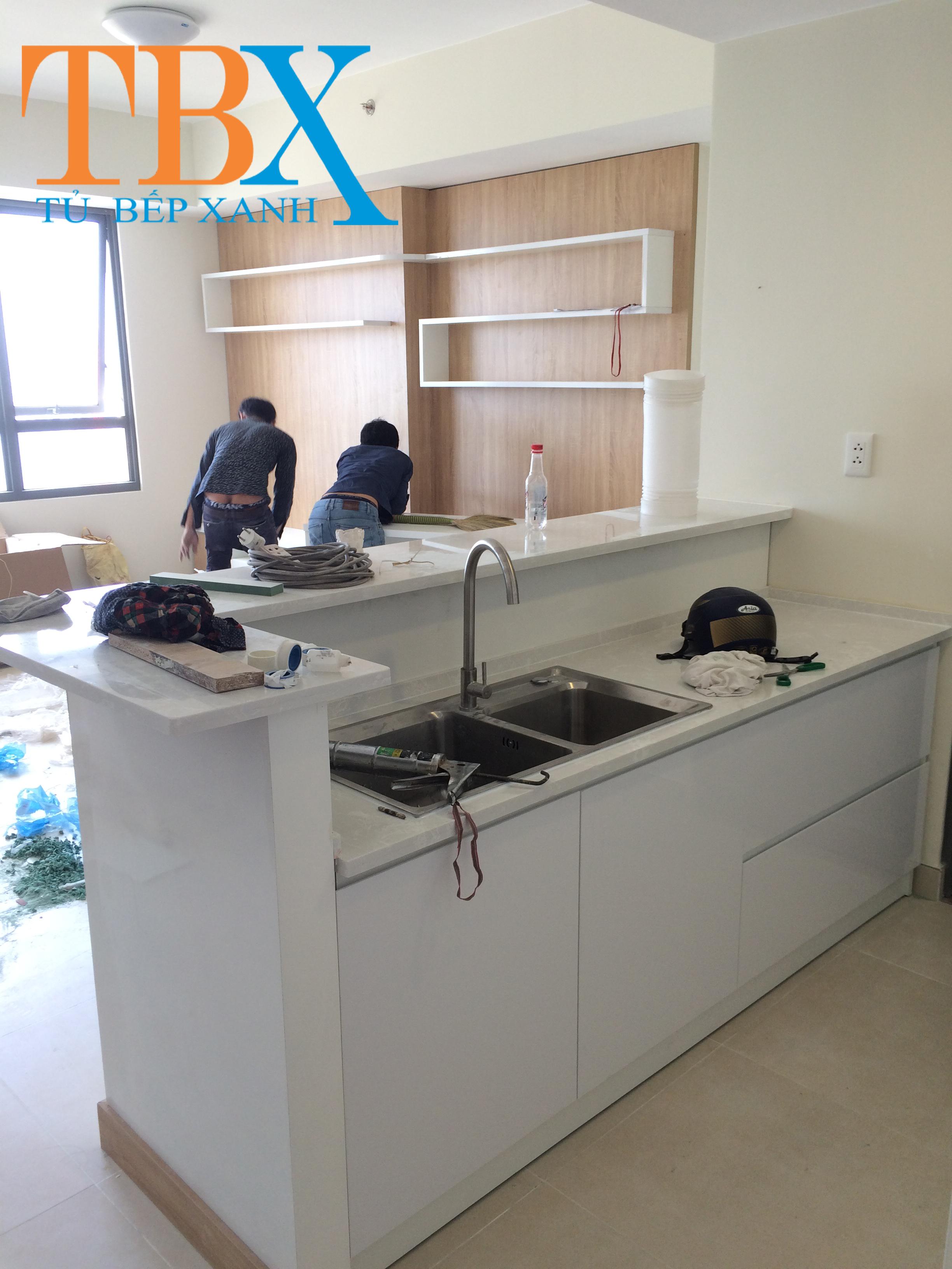 tủ bếp acrylic chung cư