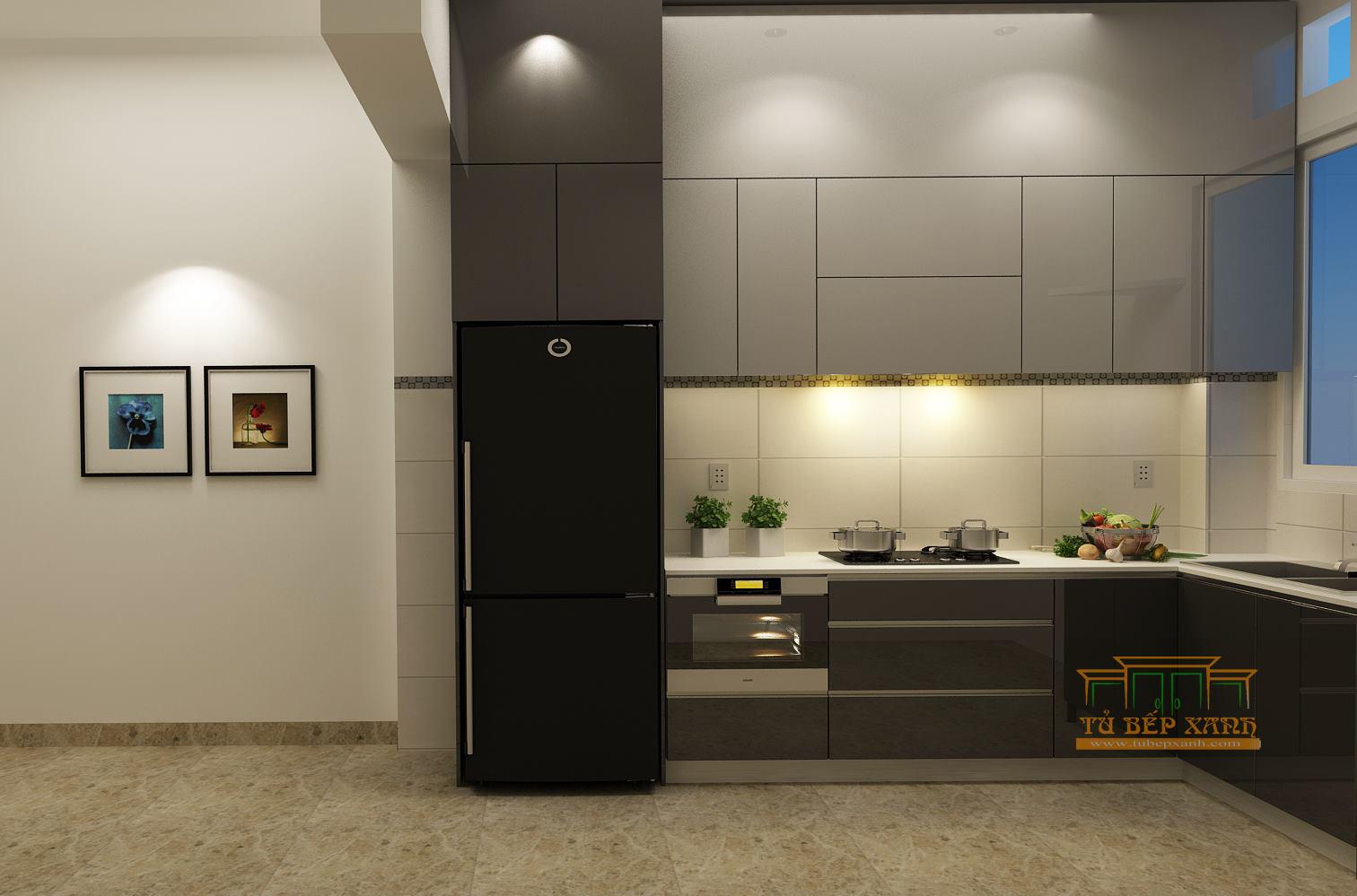 thi công tủ bếp gỗ acrylic