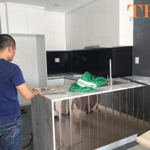Thiết kế và thi công tủ bếp gỗ công nghiệp an cường nhà chú tư quận 2