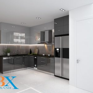 Tủ bếp acrylic màu xám cao cấp quận 8 chú hải HCM