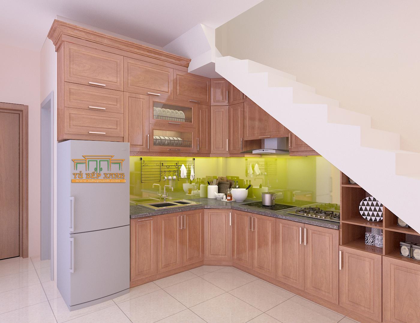 mẫu tủ bếp L gỗ xoan đào
