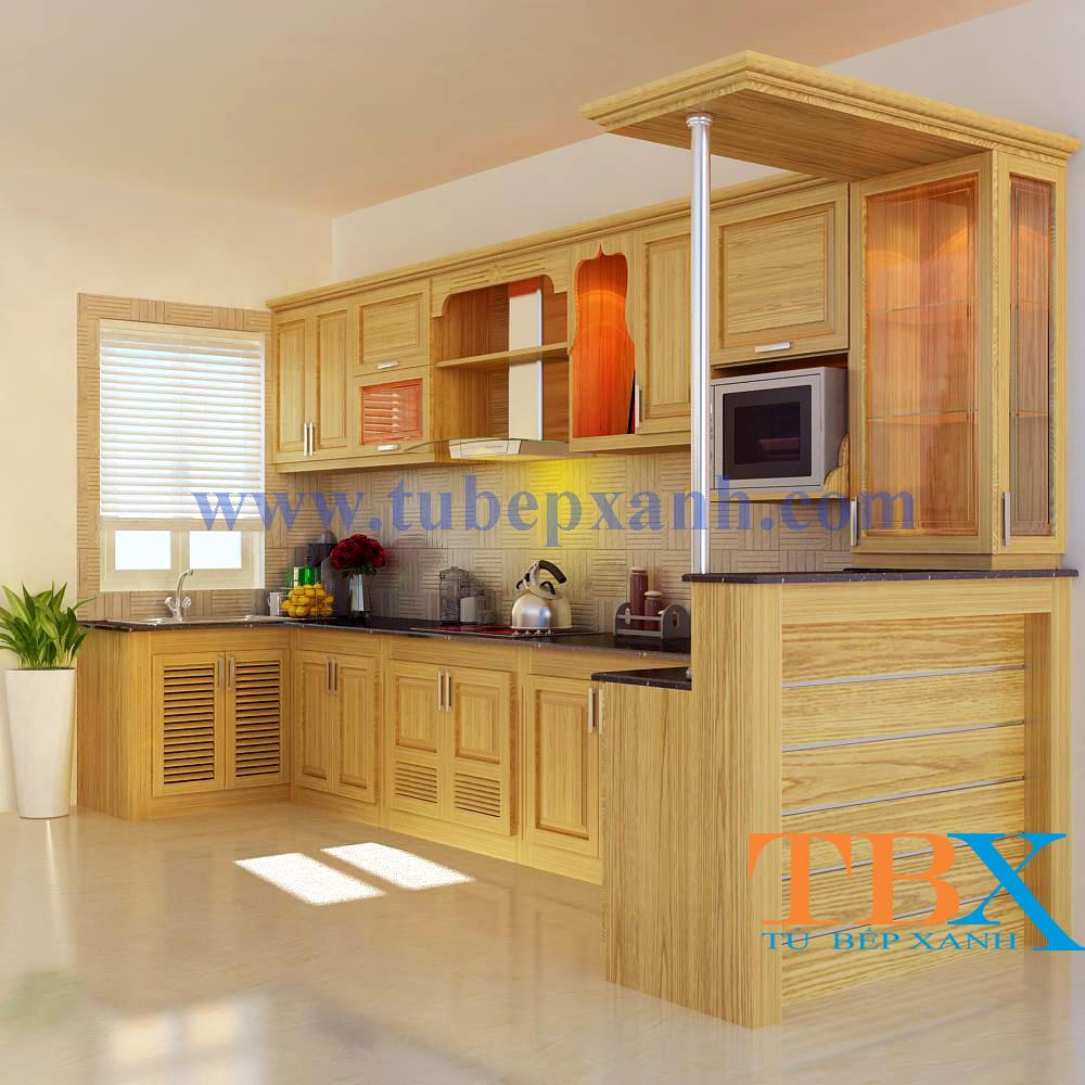 Tủ bếp gỗ sồi tự nhiên có quầy bar