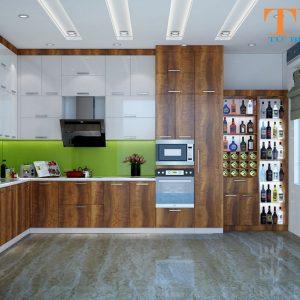 Tủ bếp laminate trắng vân gỗ nhà chị thảo ở bình dương