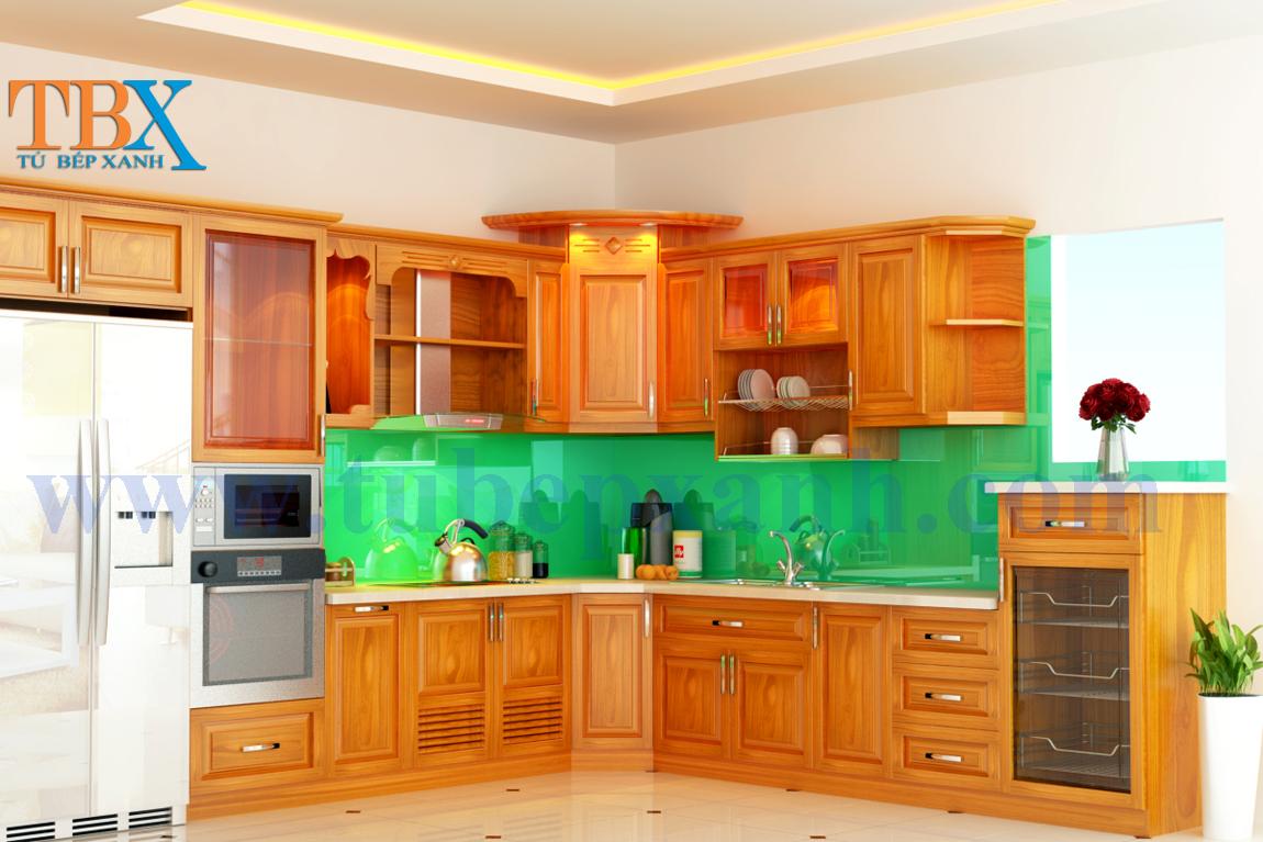 Đóng tủ bếp gỗ căm xe đẹp cho biệt thự HCM TBXA307