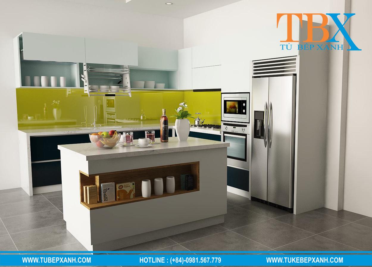 tủ bếp kính màu vàng chanh