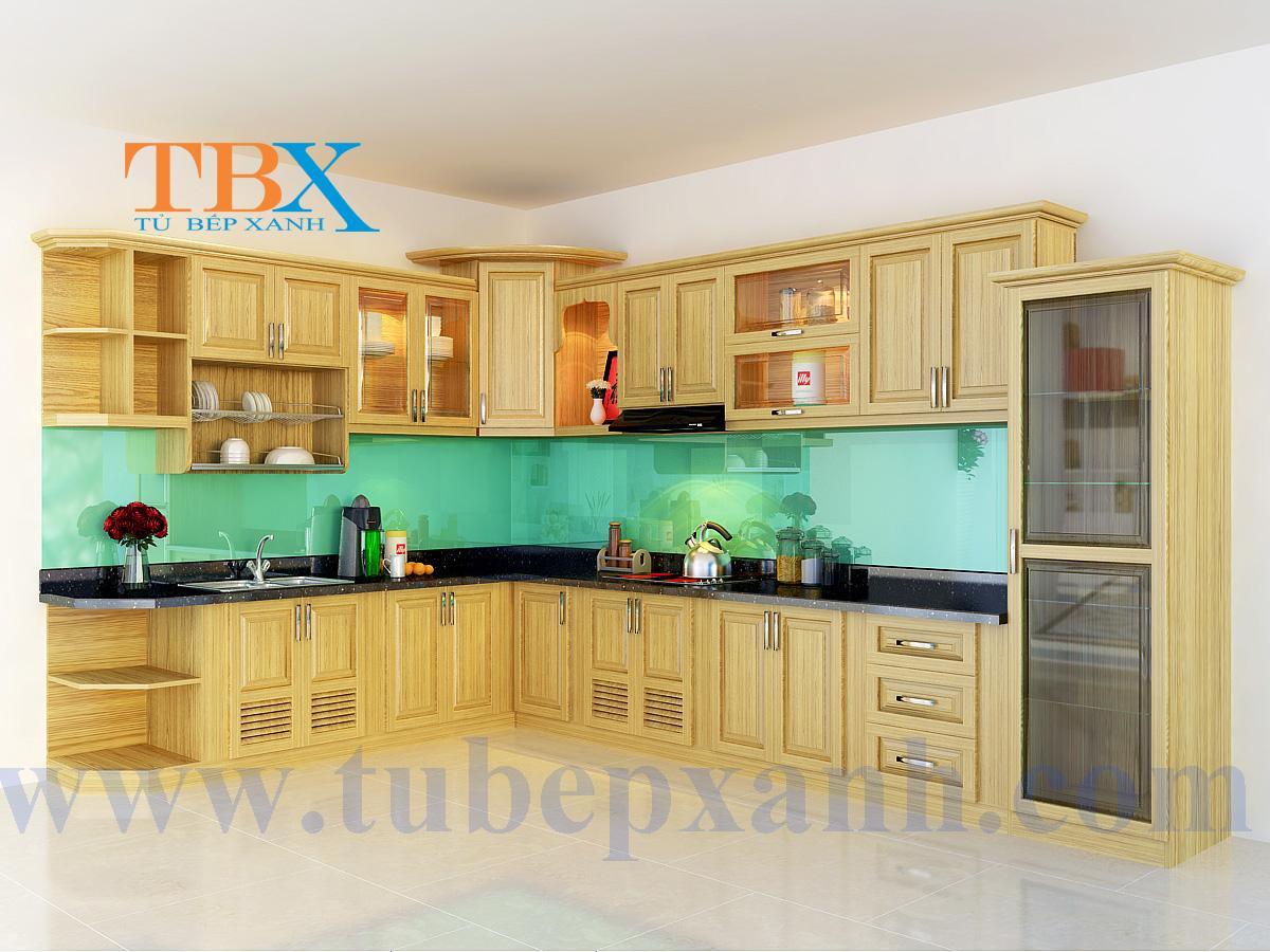 Mẫu thi công tủ bếp gỗ sồi tự nhiên TBXA203