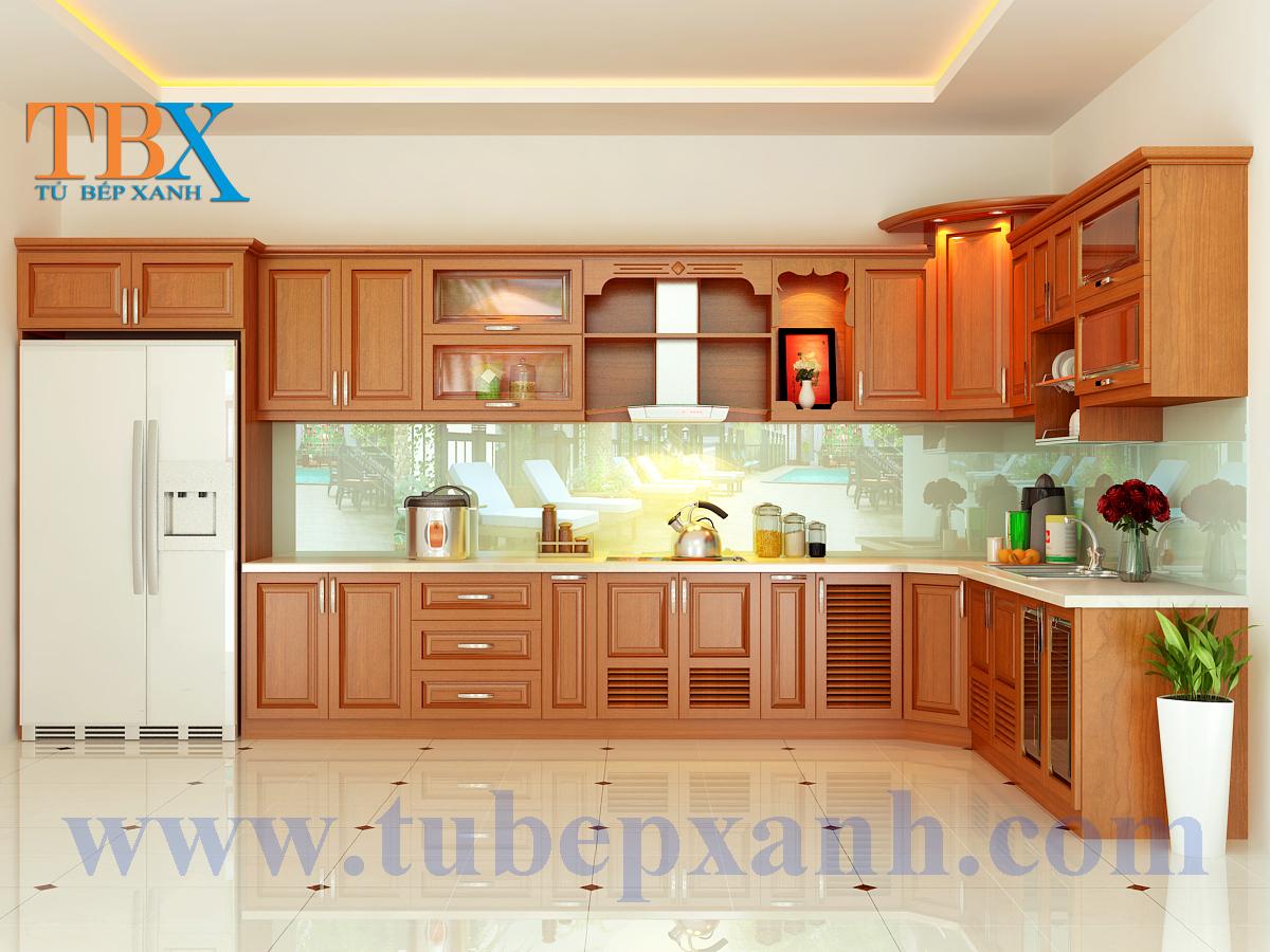 Mẫu thiết kế tủ bếp gỗ căm xe TBXA304