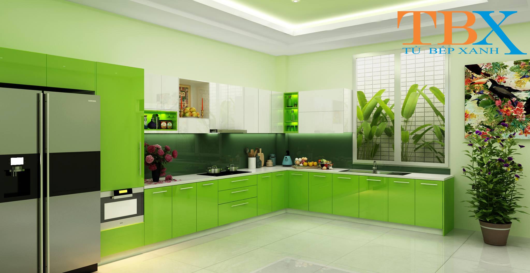 tủ bếp Acrylic màu xanh lơ