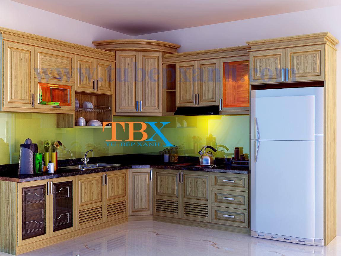 Mẫu tủ bếp gỗ sồi tự nhiên đẹp HCM TBXA202