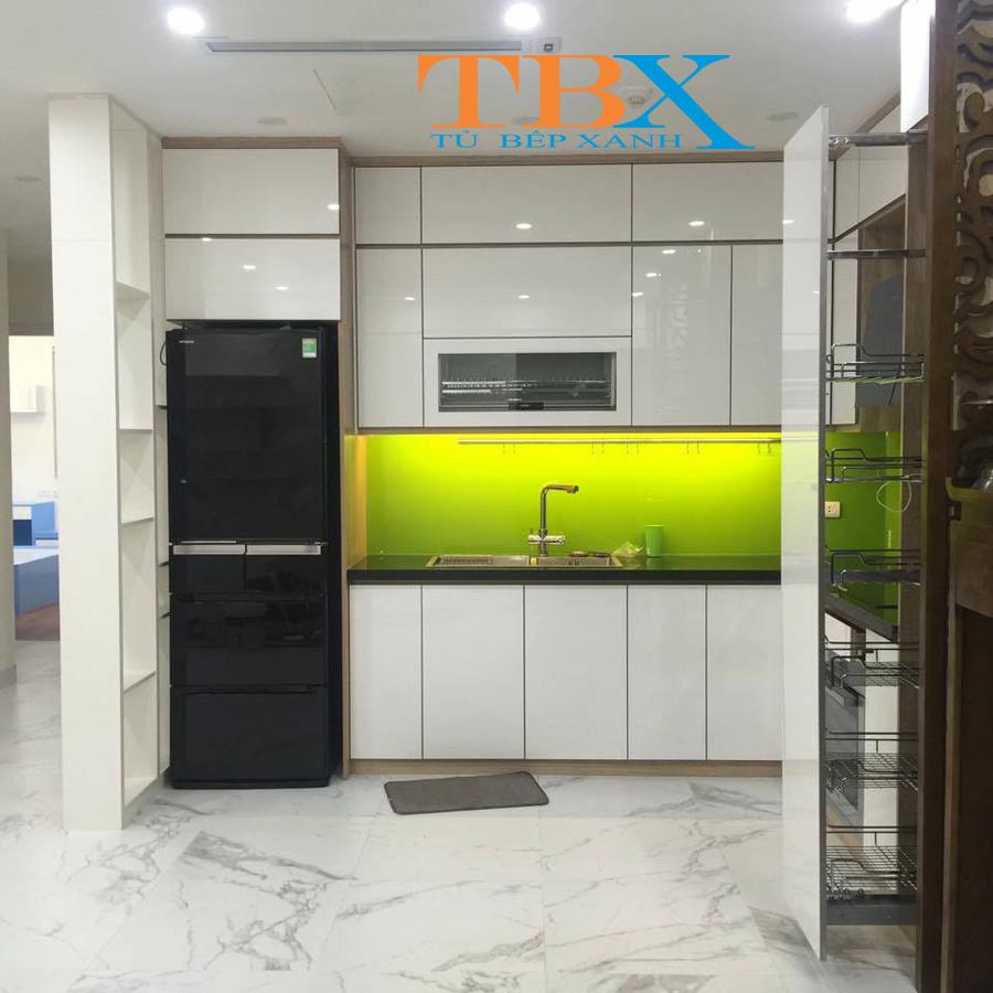 thiết kế mẫu Tủ bếp acrylic TBAC318
