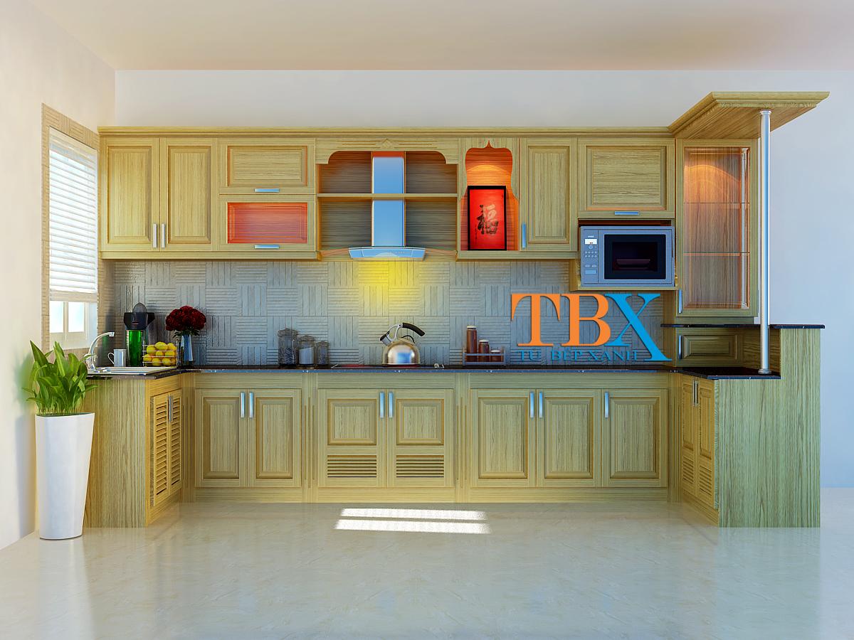 Thiết kế tủ bếp gỗ sồi cho chung cư TBXA209