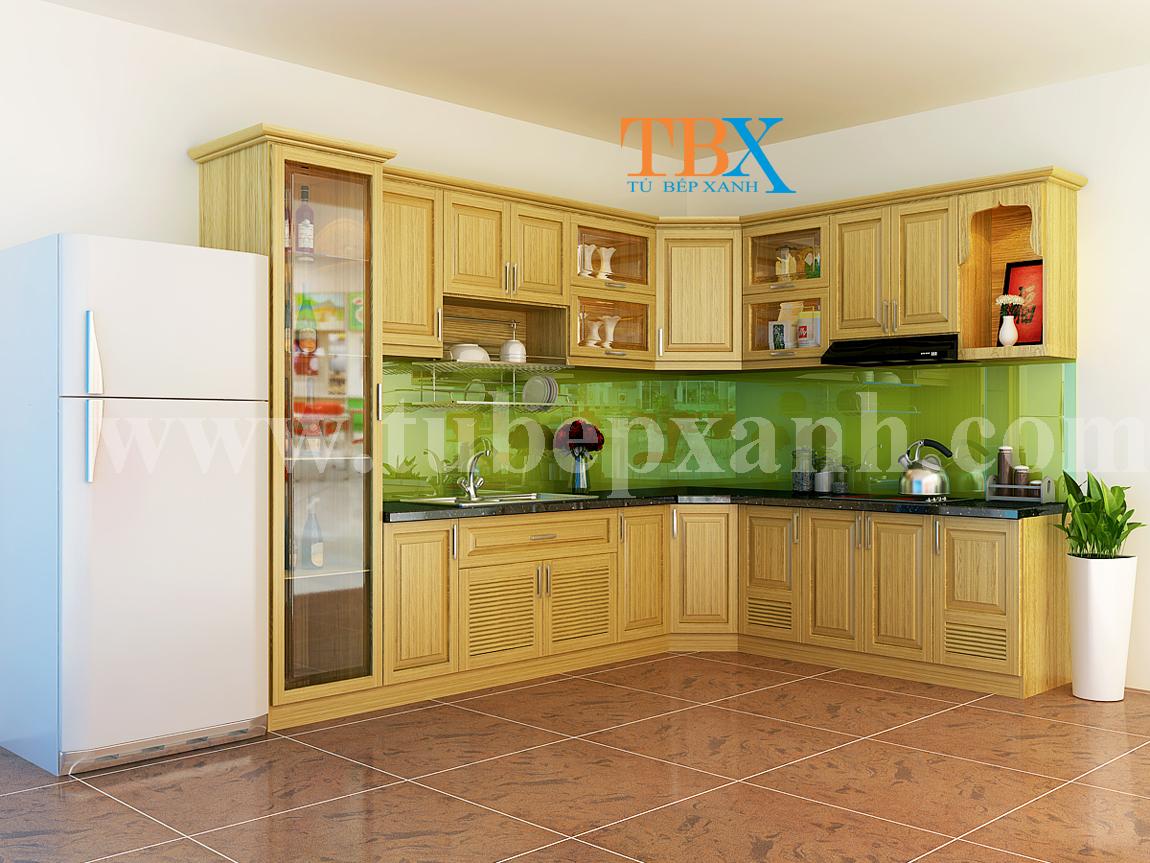 Thiết kế tủ bếp gỗ sồi tự nhiên đẹp TBXA201