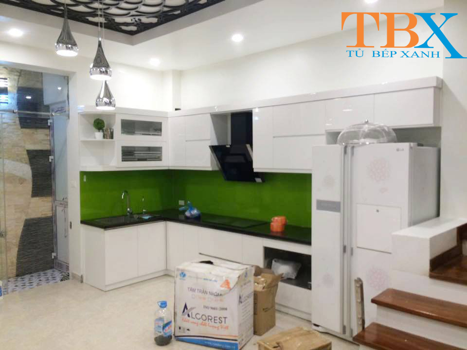Tủ Bếp Acrylic TBXA122 Màu Trắng Sang Trọng