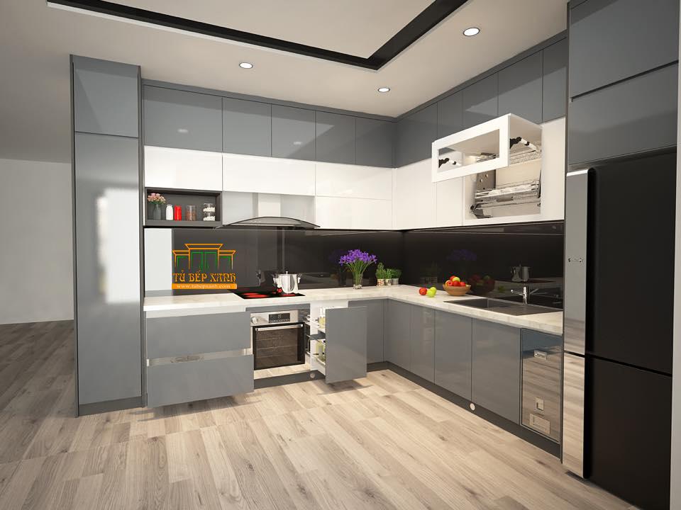 tủ bếp crylic chữ l màu xám