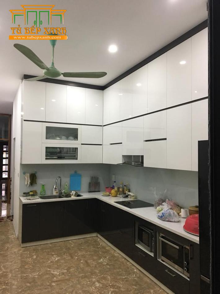 Tủ bếp MFC đẹp kiểu chữ L