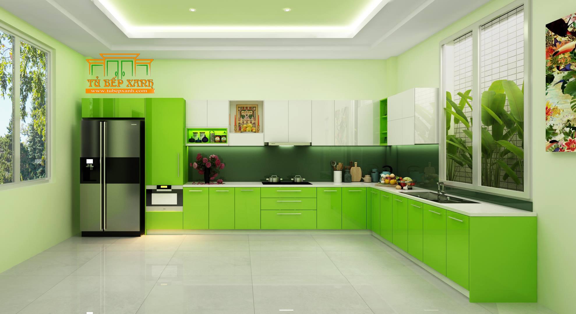 tủ bếp laminate màu xanh chữ L
