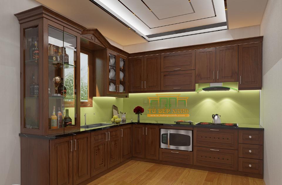 Tủ bếp gỗ tự nhiên xoan đào L