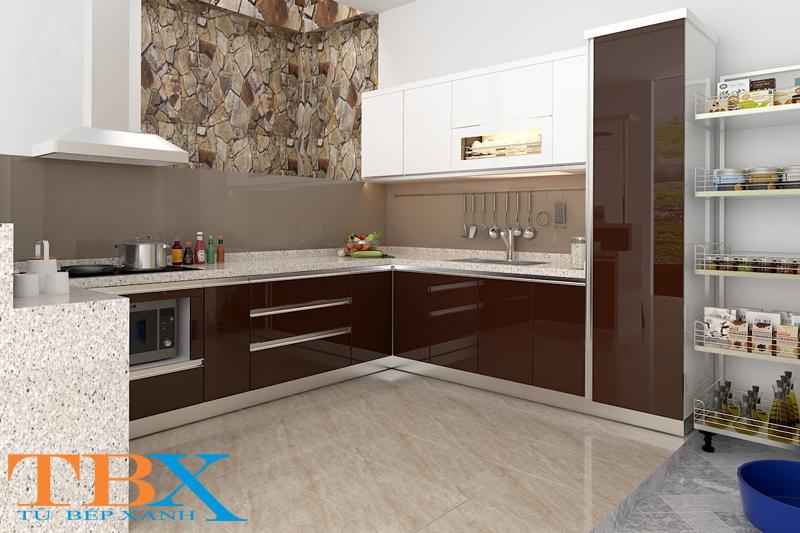 tủ bếp được làm từ gỗ công nghiệp Acrylic TBXA130