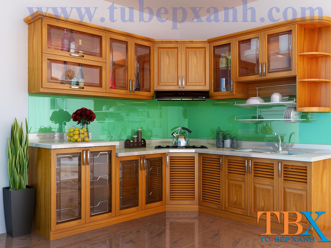 Tủ bếp gỗ căm xe đẹp chữ L TBXA308