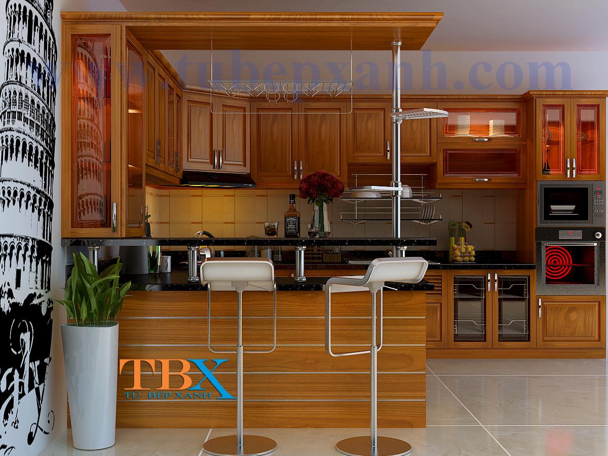 Tủ bếp gỗ căm xe kết hợp quầy bar đẹp TBXA303