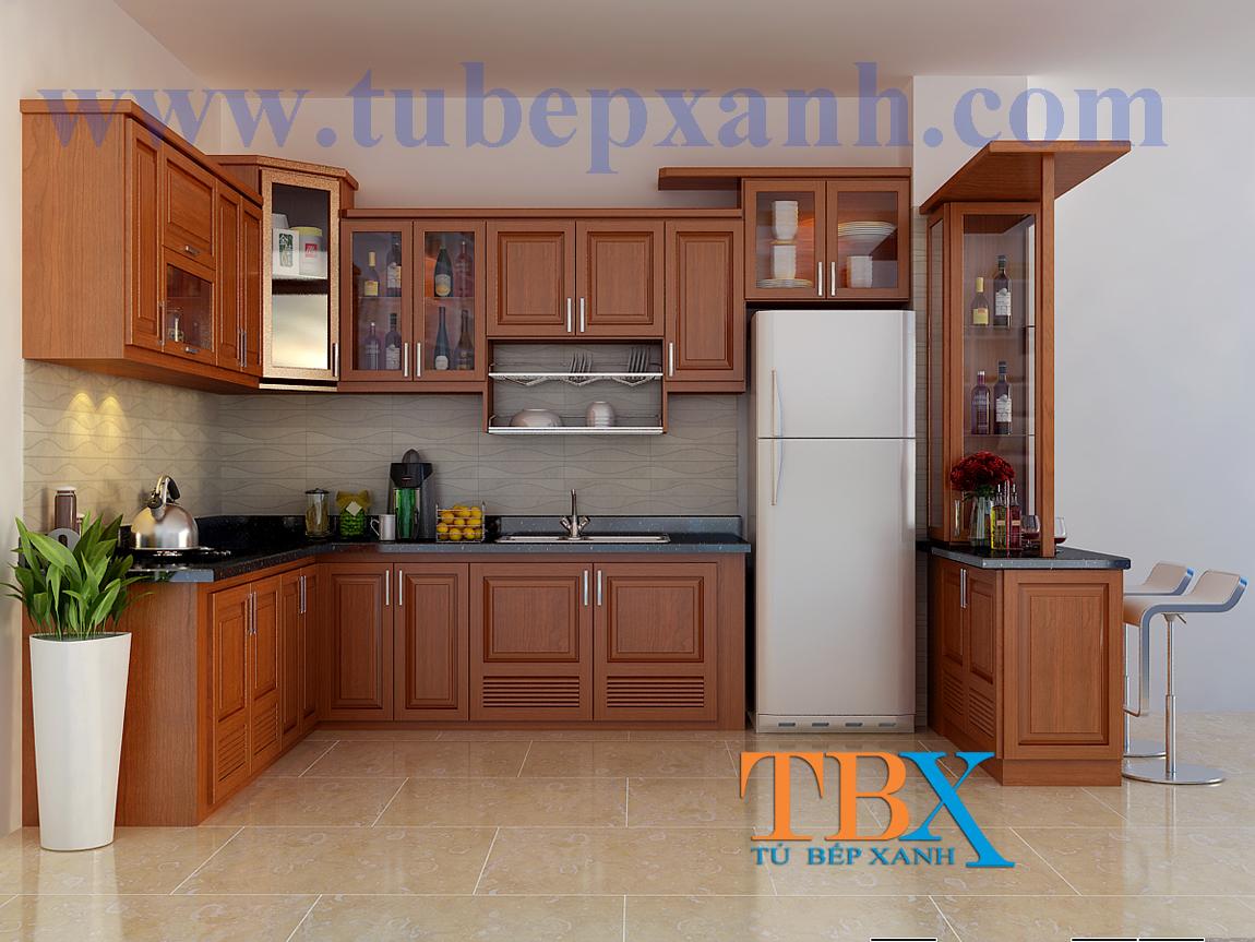 Tủ bếp gỗ căm xe tự nhiên chữ l TBXA302