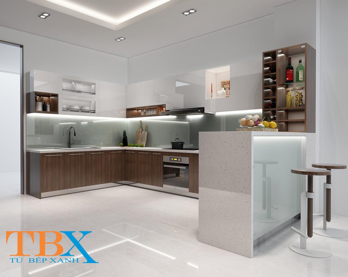 Tủ bếp gỗ công nghiệp Acrylic kết hợp quầy bar TBXA127