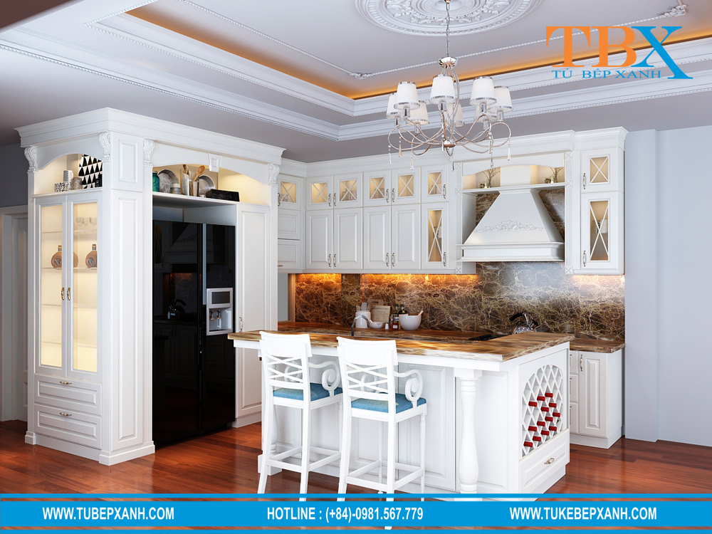 thiết kế tủ bếp màu trắng