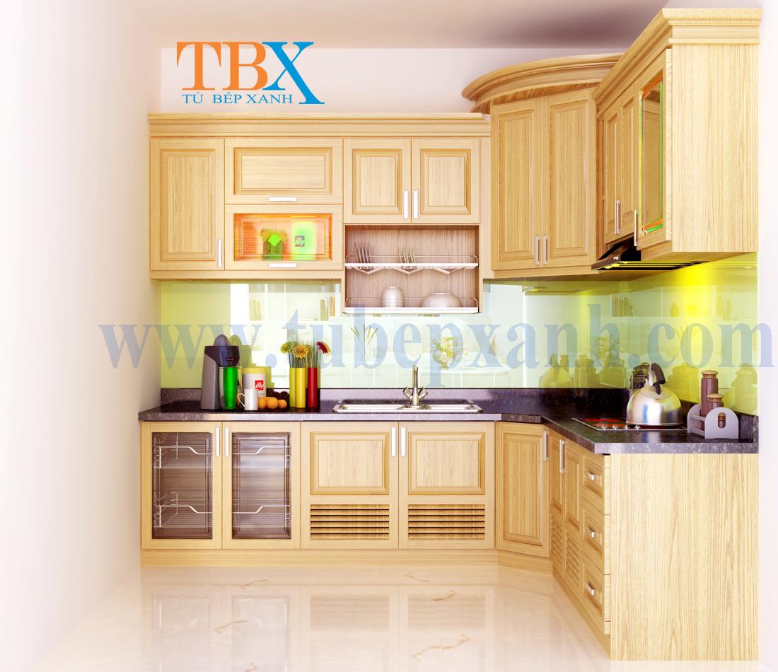 Tủ bếp gỗ sồi cho nhà phố bằng gỗ tự nhiên TBXA204