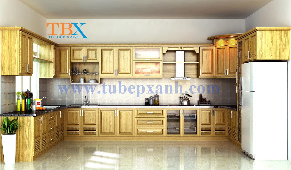 Tủ bếp gỗ sồi hình chữ U đẹp TBXA208