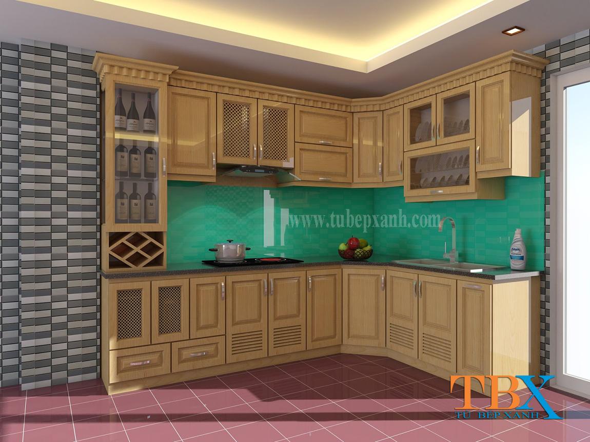 Tủ bếp gỗ sồi nga đẹp và lạ TBXA212