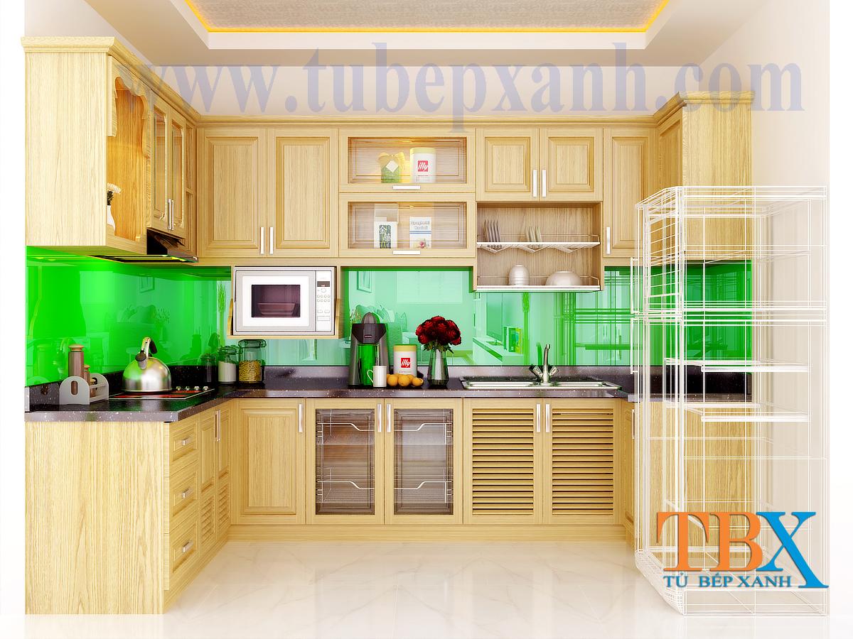 Tủ bếp gỗ sồi tự nhiên hình chữ U TBXA207
