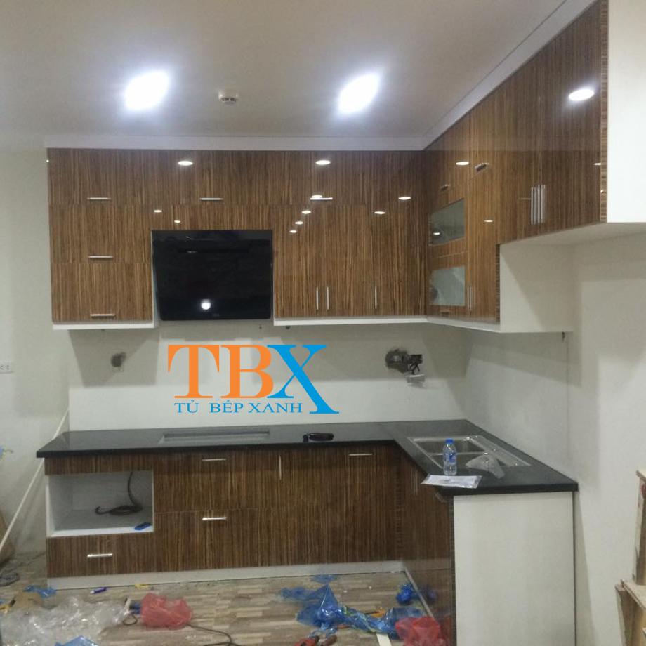 Thiết kế tủ bếp kết hợp giữa Acrylic và Laminate TBXA128
