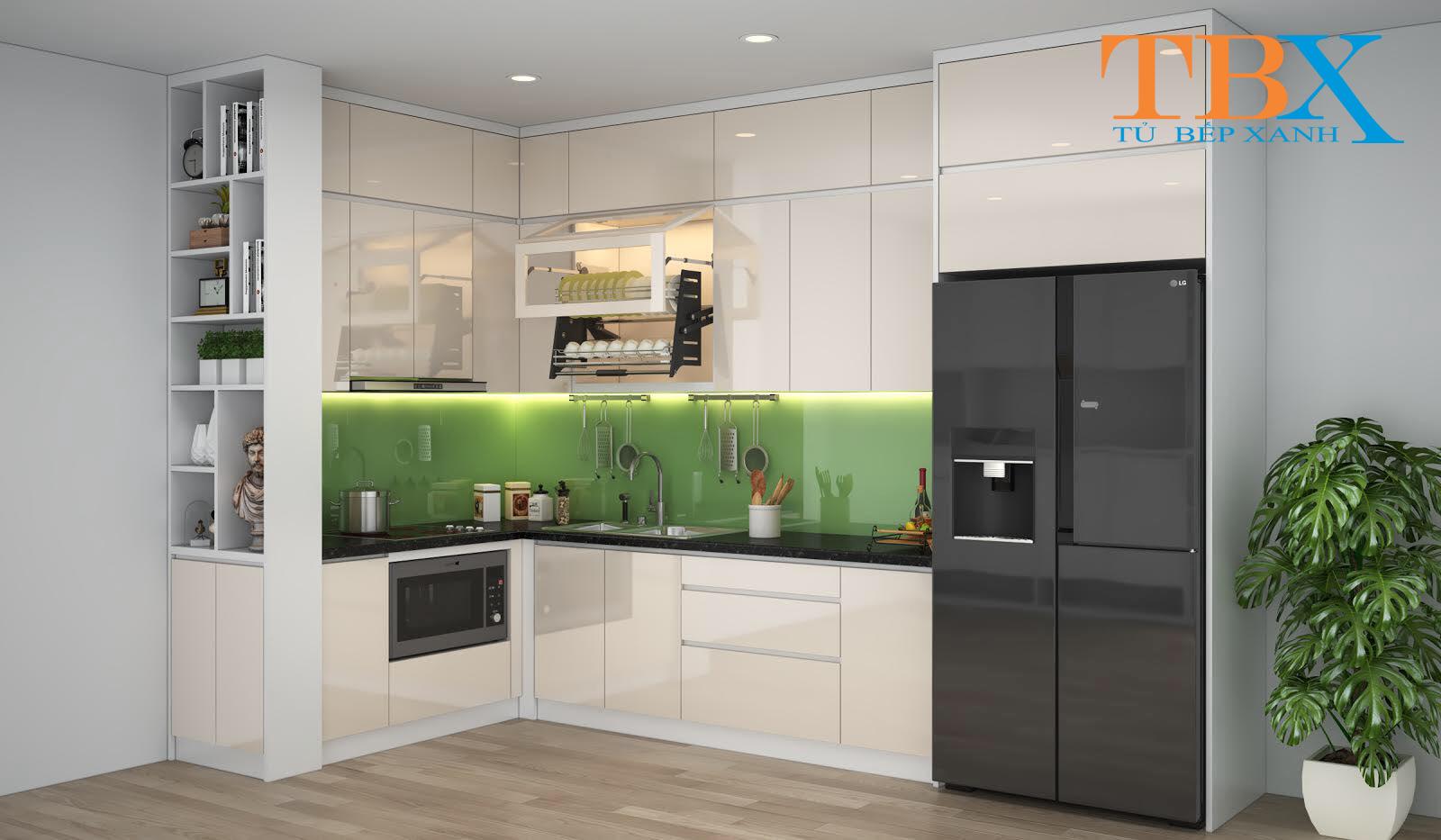 Thiết kế bếp chung cư M-one Quận 7 chị Oanh – Tủ Bếp Acrylic